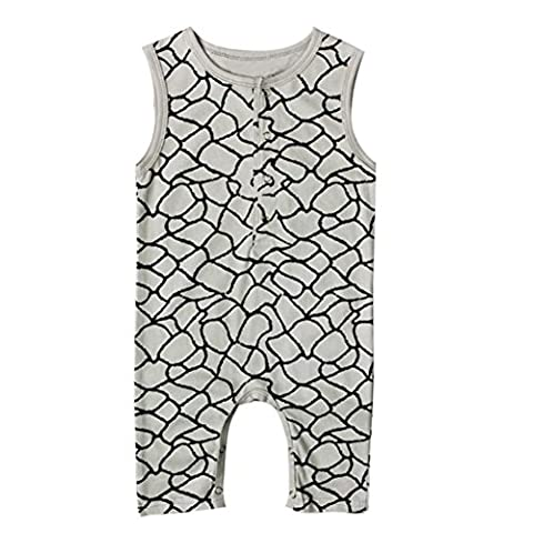 VENMO Sleeveless O-neck Collar Playsuit Print Infant Layette White Cotton Soft Baby Boys Romper