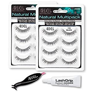 Ardell Fake Eyelashes Value Pack - Natural Multipack 110 (Black, 2-Pack), LashGrip Strip Adhesive, Dual Lash Applicator - Everything You Need For Perfect False Eyelashes by Ardell
