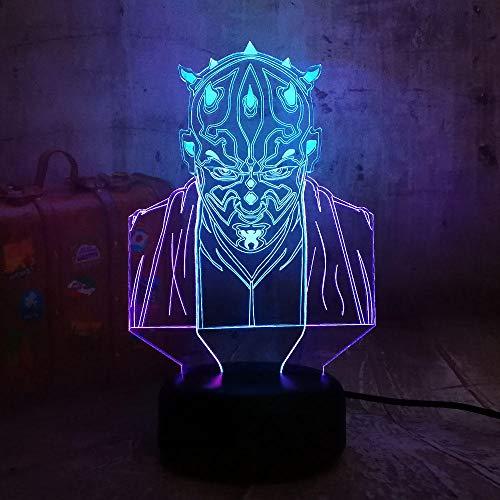 3D Luz Nocturna Star Wars Darth Maul Novedad 3D Led Luz De Noche 7 Cambio De Color Dual Mezclado Niños Regalo De Cumpleaños Juguetes Fans Navidad Decoración Para El Hogar