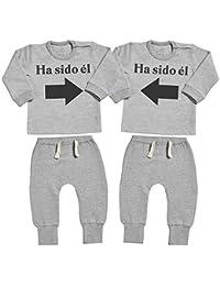 Spoilt Rotten SR - Ha Sido él & Ha Sido él - Conjunto Gemelo - Regalo para bebé - Gris suéter para bebé & Gris Pantalones de Jogging para bebé
