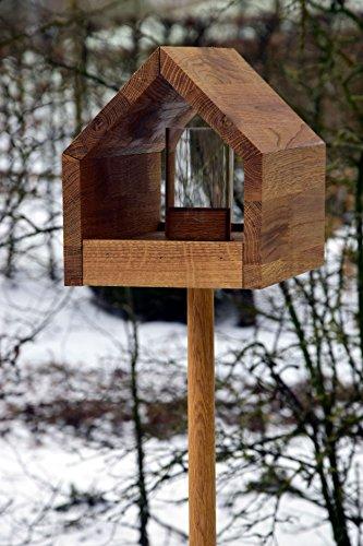 Luxus-Vogelhaus 46601e Eiche-Vogelfutterhaus mit Ständer, Satteldach, Futtertablett und Silo - 4