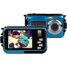 Appareil Photo Etanche numérique Stoga CGT001 Double écrans étanches caméra vidéo numérique de 2,7 pouces avant LCD 2,7 pouces caméra facile Self Shot-Bleu
