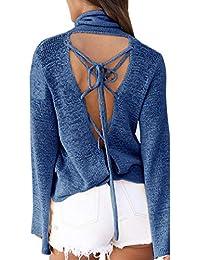 Hibote Mujer Camisas Manga Larga Tops Cuello Alto Elegante Pullover Casual Color Sólido Cruz Diseño Blusa