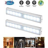 Lámpara LED con sensor de movimiento, luz LED de Noche PIR Sensor de luz y sensor de movimiento portátil armario cajón armario luz con 3m imán color plateado 2unidades