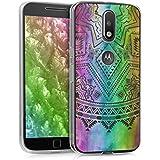 kwmobile Funda para Motorola Moto G4 / Moto G4 Plus - forro de TPU silicona cover protector para móvil - Case Diseño sol azteca multicolor rosa fucsia transparente
