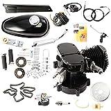Wunicorn - Kit para bicicleta motorizada, motor de gas de 80 cc, ciclo de 2 tiempos, silenciador de cromo, negro