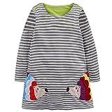 Baby Mädchen Prinzessin Kleid Cartoon Tiere Lange Ärmel/Kurzarm T-Shirt Jerseykleid mit Streifen Crewneck Kleid (4 Jahre, Grau-Igel)