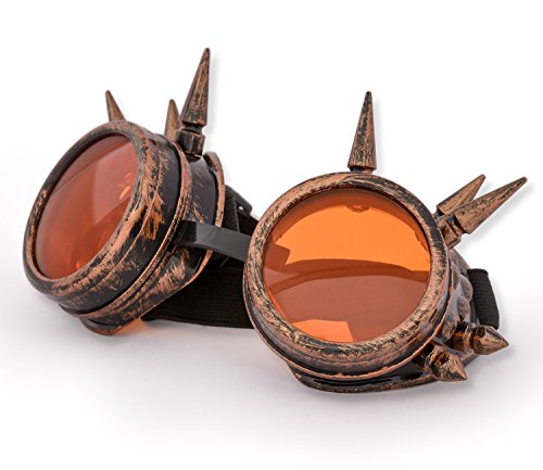 WELDING CYBER GOGGLES Schutzbrille Schweißen Goth cosplay STEAMPUNK COSPLAY GOTH ANTIQUE VICTORIAN WITH SPIKES Includes FREE set Lense Shades UV400 Protection Morefaz(TM) (Copper (Brillen Halloween)