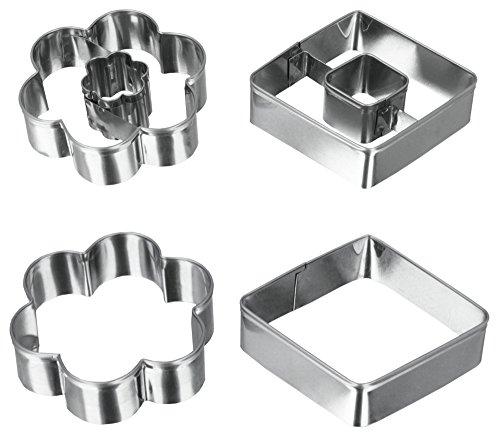 Metaltex - formine per Biscotti (in Acciaio Inox, 4 Pezzi), la Progettazione di Fiori e Diamanti, Argento