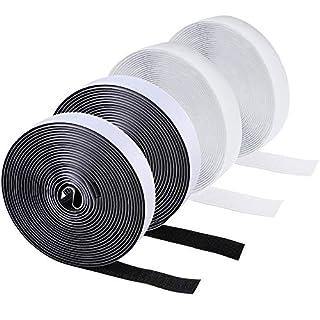 HO2NEL 4 Stück Klettband Selbstklebend Klettverschluss Flauschband Hakenband Klettband weiß schwarz für Grafikrahmen Fliegengitter 5M 20mm breit