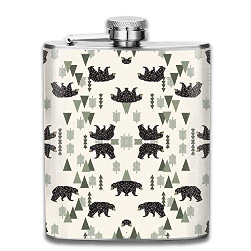 Forest Bear Cream Green Neutral Baby Nursery Boys Forest Mountain Woodland Geometric Bear 7 Oz Pocket Hip Alcohol Liquor Flask Print Printing-Made From 304(18/8) Food Grade Stainless Steel
