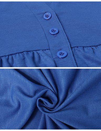 iClosam -  Maglia a manica lunga  - Tunica - Floreale - Collo a U  - Maniche lunghe  - Donna Blue