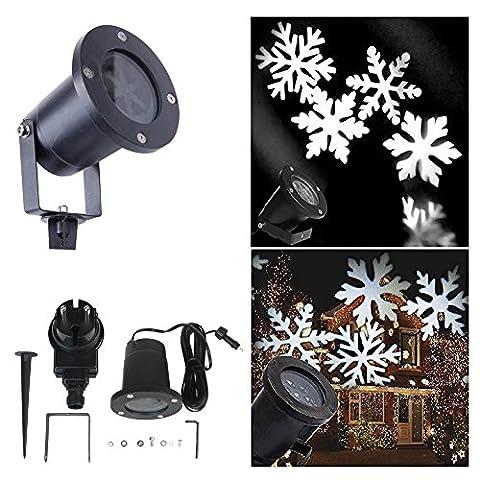Calar Projecteur LED lampe rotative étanche, projection flocon de neige, paysage jardin basse-cour pour Noël décoration d