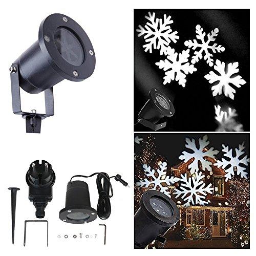 Outdoor LED Projektor Lampe mit Weiße Schneeflocken IP65 Wasserdicht Gartenleuchte Außen Lampe Weihnachtsbeleuchtung für Garten Festival-Dekoration Weinachten Halloween Geburtstag Hochzeit Party