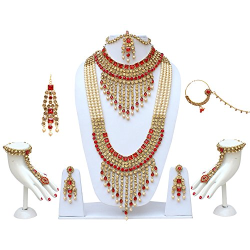Lucky Jewellery Traditional Golden Red Color Alloy Bridal Set For Women And Girls