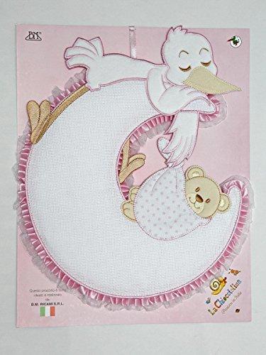 Fiocco nascita luna da ricamare con cicogna e orsetto rosa