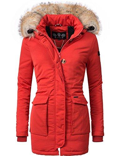Navahoo Damen Winter-Jacke Winter-Mantel Schneeengel (vegan hergestellt) Rot Gr. M (Mantel Damen Wintermantel)