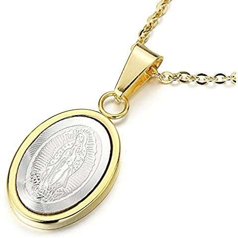 Pequeño Medalla Milagrosa Virgen María Marry, Collar con Colgante de Hombre de Mujer, Acero Inoxidable, Cadena