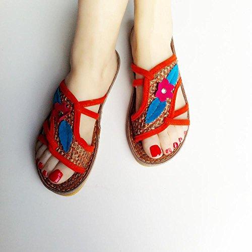 GJDE Pantofola a testa rotonda dei sandali semplici delle signore Blue