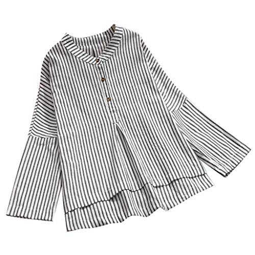 FRAUIT Damen Blusen Beiläufige Gestreifte Langarmshirts Fledermaus Hemd Baumwolle Leinen Lässig Locker Tunika Top Dünnschnitt Bluse Frühling T-Shirt -