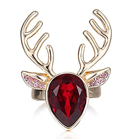 eManco Deer Antler Animal Gold Chain Red Cyrstal Adjustable Ring for Women Christmas Gift Fashion Jewellery