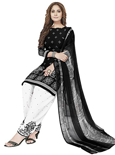 ishin Women\'s Synthetic Salwar Suit Dress Material(Ddrvmns-2380_Black and White_Free Size)