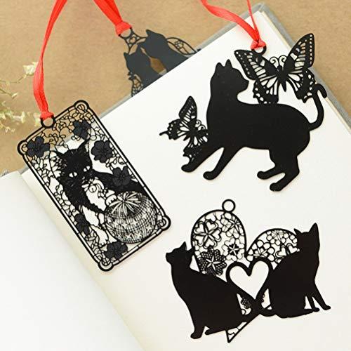 Schwarze Katze Metall Hohl Lesezeichen Halter Papier Marker Schreibwaren Supplie ()