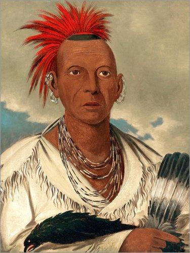 Poster 100 x 130 cm: Black Hawk, Häuptling der Sauk und Fox von George CATLIN - hochwertiger Kunstdruck, ()