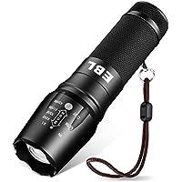 EBL Torche Lampe de Poche LED Ultra Puissante 800-1200LM IP65 Etanche Zoomable 5 Mode d'Intensité Compatible avec Piles AAA 18650 26650 - Noir