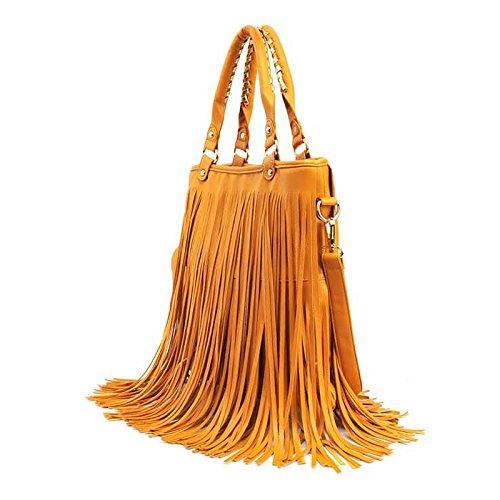 66364ed4ab512 Milya PUleder Damentasche Milya Europäische und amerikanische großen Mode Retro  Fransen Tasche PUleder Damentasche Mode Quaste Tasche Gelb khaki Schwarz ...