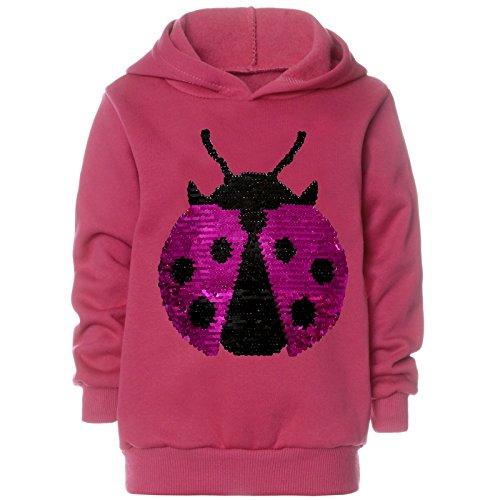 BEZLIT Mädchen Kapuzen Pullover Pulli Wende Pailletten Hoodie 21599, Farbe:Rosa, Größe:140 (Rosa T-shirt Damen Hand)