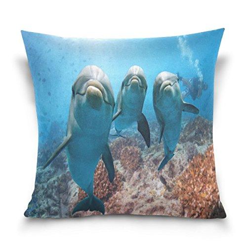 ALAZA Überwurf Kissen Fall dekorative Kissenhülle Kissenbezug, Hipster Dolphin Ocean Sea Sofa Bett Kissen Schutzhülle Twin Seiten, baumwolle, multi, 16 x 16 inch