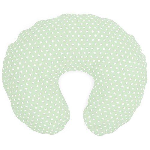 Sugarapple Stillkissen amerikanisch ca. 140 cm x 25 cm, kleines Schwangerschaftskissen oder Baby Lagerungskissen mit fester Polyester-Hohlfaser Füllung, Kissen Bezug 100% Baumwolle, Mint Sterne weiß