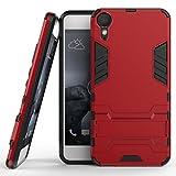 Fundas HTC Desire 10 Lifestyle Funda Carcasa Case, Ougger Protector Extrema Absorción de Impacto [Kickstand] Piel Armor Cover Duro Plástico + Suave TPU Ligero Rubber 2in1 Back Gear Rear Rojo