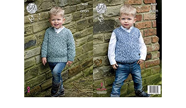 669bed746 King Cole 4630 Knitting Pattern Boys Sweater and Slipover in King Cole  Fashion Aran Combo  Amazon.co.uk  Kitchen   Home
