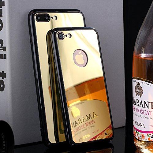 Custodia iPhone 7 Plus Specchio, iPhone 7 Plus Cover Glitter, SainCat Custodia in Hard PC Protettiva Cover per iPhone 7 Plus, Bling Glitter Mirror Specchio 3D Design Plastica Hard Case Ultra Slim Sott Champagne