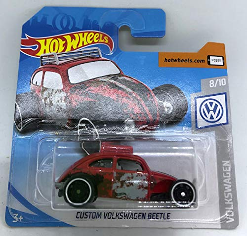 2019 Hot Wheels Custom Volkswagen Beetle Red 8/10 Volkswagen 69/250 (Short Card)