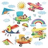 Decowall DS-8026 Doppeldecker Hängeleiter Flugzeuge Tiere Wandtattoo Wandsticker Wandaufkleber Wanddeko für Wohnzimmer Schlafzimmer Kinderzimmer (Klein)