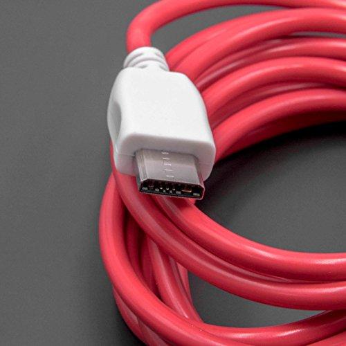 vhbw USB Kabel Ladekabel 2.0m rot/weiß für Tablet Pad Nabi DreamTab, Nabi 2S, Nabi XD, Nabi Jr Kinder-Tablet, Nabi Elev-8