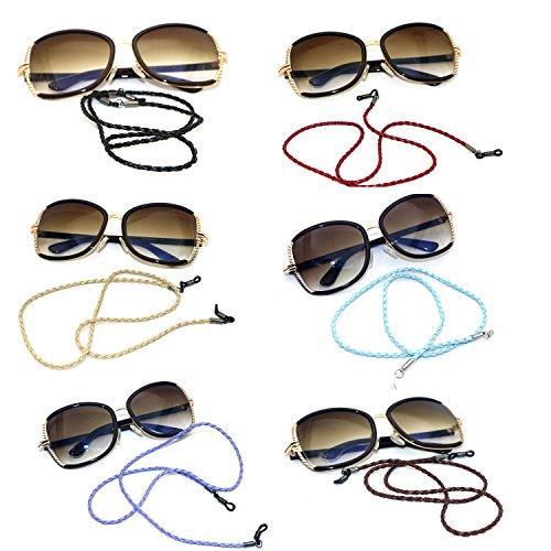 Hibote Occhiali per occhiali con cordino per occhiali Cord occhiali da sole Cordino per cinturino oro e argento
