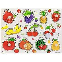Setzpuzzle Früchte aus Holz Obst Kinderpuzzle Setz-Puzzle für Kinder Neu Holzspielzeug
