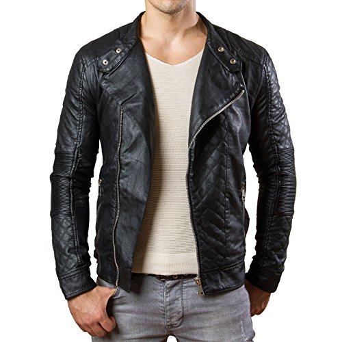 Prestige Homme Herren Jacke Kunst Leder Biker Gesteppt MR04, Größe:S