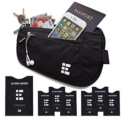 Flache Bauchtasche mit RFID Blocker für Damen und Herren Geldgürtel zum Reisen (Midnight)