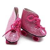 SODIAL Paar Roller Skates Schuhe Fuer 18 Zoll Amerikanisches Maedchen Reise Puppe Kleidung Dress up Zubehoer Rosa