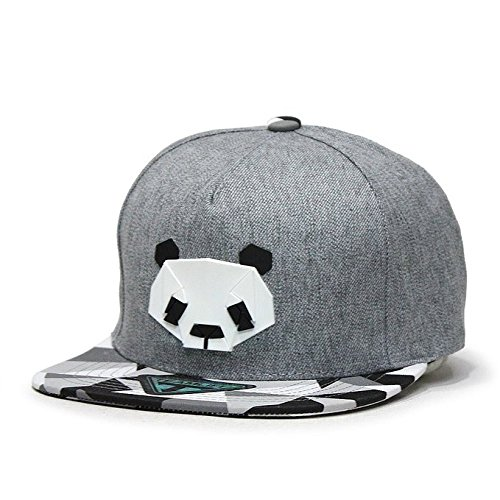 LUFA Panda Pattern Hip-hop Cap Unisex Hats Adjustable Buckle Baseball Cap Gris&55-60cm