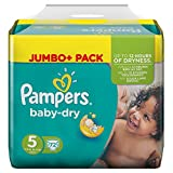 Pampers Baby Dry Größe 5 Junior 11-25kg Jumbo Plus Pack (1 x 72 Windeln)