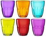 Bormioli Rocco Ercole - Bicchieri colorati, 230 ml, set da 6, multicolore