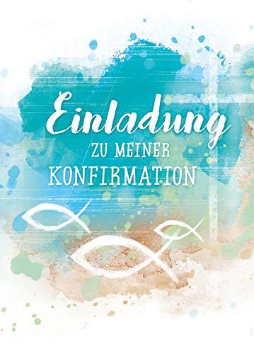 5 x Einladungskarten Konfirmation von KE - Einladung - Konfirmationseinladungen - Für Jungen & Mädchen - DIN C6-5er Set Klappkarten inkl. Innentext & Umschläge - Motiv Blau_E