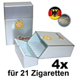 4x ZIGARETTENBOX silber metallic für 21 Zigaretten inkl. Deutschland-Ansteck-Button - Schnappverschluss Zigaretten Etui
