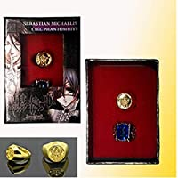 TOSSPER Black Butler Ciel Phantomhive Cosplay Blue Golden Crystal Couples 2 Ring